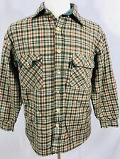G Vino Mens Vtg Long Sleeve Shirt Large Plaid Thick Lined Outdoors Green Red Tan