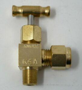 5x 1/4 Swagelock Compression Tube x 1/8 NPT Brass Angle Needle Valve Knight K4A