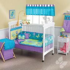 "Baby Girl Blue & Purple Fantasy 12 Piece Crib Bedding Set ""Embroidered"""