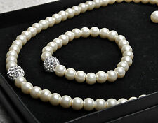 Ivory Pearl Crystal Glass Necklace Bracelet Earring Jewellery Set Bridal Wedding