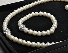 Ivory Pearl Crystal Glass Necklace Bracelet Earring Jewellery Set Bridal Wedding