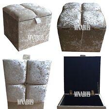 CRUSHED VELVET CREAM IVORY 1 DIAMOND OTTOMAN STORAGE FOOTSTOOL BOX SALE NEW