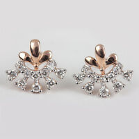 Solid 14k Rose Gold Pave Natural Diamond Stud Earrings Jewelry VALENTINE'S GIFT