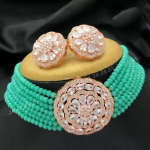 New Indian Necklace Gold Plated Wedding Fashion Women Bollywood CZ Jewelry Sets