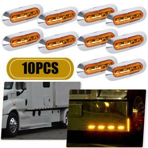 10PCS Amber 4 LED Clearance Side Marker Lights for Car Trailer Pickup Waterproof