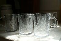 Arcoroc USA Clear Glass Embossed Holly Tree Mugs set of 7 Christmas Tree Holiday