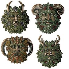 Four Seasons Horn God Green Leaf Man plaque ~ set of 4 ~ Cernunnos ~ resin