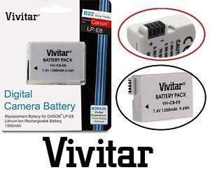 Hi Capacity Vivitar LP-E8 Li-Ion Battery for Canon EOS Rebel T5i T4i T3i T2i