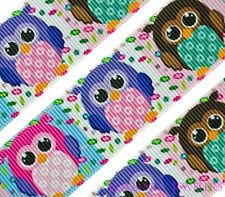 """High Quality 1"""" Colorful Owls Printed Grosgrain Ribbon ~ Perfect For Hair Bows"""