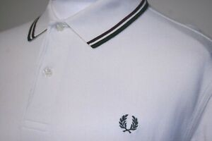 Fred Perry Twin Tipped Polo Shirt - L - Ecru/Mahogany/Green - M1200- 80s Mod Top