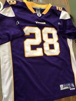 Adrian Peterson MINNESOTA VIKINGS # 28 Sewn +2 NFL Jersey YOUTH  XL PURPLE