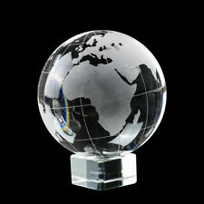 Glass Clear World Earth Globe Etched Crystal World on Stand 100mm Paperweight