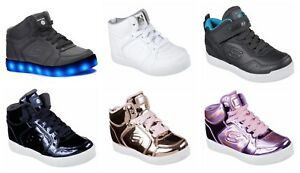 Kids Skechers Childrens S Lights Energy Lights Light Up High Top Lace Trainers