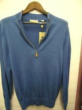 New Donald Ross Long Sleeve Sweater 1/2 Zip Pullover Lite Blue Small