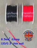 Pared delgada cable 8.5mm², (8AWG) 63amp, Auto, Marino, Bajo Voltaje, TW8.5
