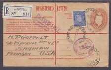 Australia Sc 170 Uprates H&G C32. 1938 5p Registered Envelope to US