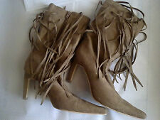 ODEON - STIVALI GIRL BOOTS MIDDLE HEELS - SUEDE - LIGHT BROWN - size: 5 UK