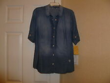NWT Marina Rinaldi s/sleeve lightweight denim blouse in blue size 19/14W.