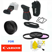 CANON EOS REBEL LCD VIEW FINDER + TELEPHOTO ZOOM LENS +HD FILTER KIT T3 T5 7D