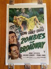 ZOMBIES ON BROADWAY 1944 27x41 1-sheet movie poster Bela Lugosi LINENBACK 44/478