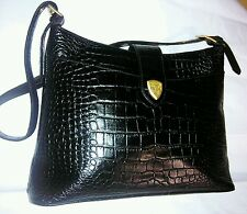 Blaine Trump black croc embossed leather w/ gold tone hardware shoulder bag