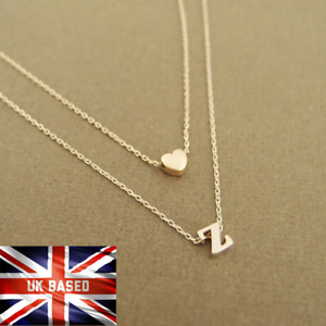Gold Silver Multi Layer Love Heart Initial 26 Letters Chain Necklace Gift Bag UK