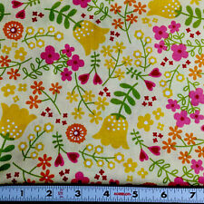 Happy Day Flowers on Yellow 100% Cotton Fabric - Sold by the half-yard