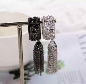 18k Black Rhodium Filled Long Fringe Tassel Ring made w Swarovski Marquise Stone