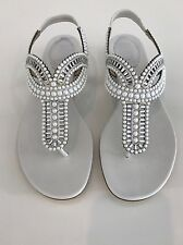 RENE CAOVILLA WHITE LEATHER CRYSTAL PEARL EMBELLISHED SANDALS 11017 SIZE 8