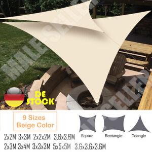 Sonnensegel WASSERDICHT Sonnenschutz Windschutz UV-Schutz Dreieck Rechteck Beige