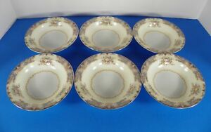 Noritake POSY Berry Fruit Sauce Bowl (s) LOT OF 6 Two-Tone Goldtone Trim Floral