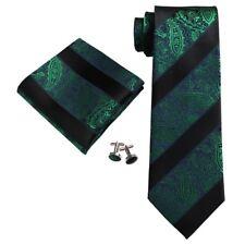 Men's Black And Green Paisley 100% Silk Neck Tie Set 18E14