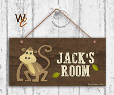Monkey Sign, Woodland Personalized Sign, Kid's Name, Kids Door Sign, 5x10 Sign
