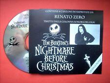 RENATO ZERO nightmare before christmas 5 brani inediti cds PROMO  mai suonato