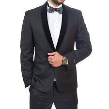 Slim Fit 1 Button Black Velvet Shawl Lapel Tuxedo / Fashion Suit By AZAR MAN