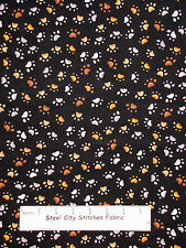 Loralie Dear Doggie Delight Dog Paw Print Black Cotton Fabric 692-109-B YARD