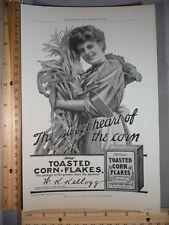 Rare Original VTG 1908 Kellogg's Corn Flakes &  Pyrography Advertising Art Print