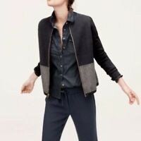 $138 J.Crew Merino Wool Cardigan Jacket Size MEDIUM Womens Navy Blue Grey M EUC