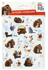 80 Secret Life of Pets Stickers on 4 Sheets birthday party loot bag fillers duke