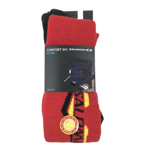 SALOMON ELIOS MERINO WOOL COMFORT SKI SOCKS RED/YELLOW LARGE