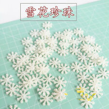 50x ABS Snowflake Flat Pearl Embellishments Christmas Craft Charms Beads Flower