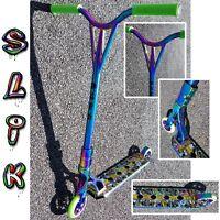 Slik Pro Stunt Scooter Oil Slick, Neo Chrome, Graffiti deck, light high strength