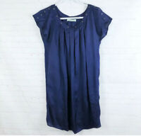 Geren Ford Women's Size L Blue Silk Pleated Cap Sleeve Shift Tunic Dress