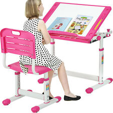 Pink Adjustable Children's Desk Chair Set Child Study Desk Kids Study Table XLQ