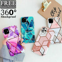 Case for iPhone 11 XR XS MAX 8 7 Plus SE ShockProof Marble Phone Cover Silicone