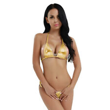 Womens Metallic Adjustable Tie Side Bikini Set Swimwear Sexy Micro Bra G-string