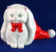 Vtg 1991 San Fransico Music Box Co Porcelain China Christmas Cat In Santa Hat