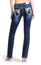Grace in LA Willow Branches Easy Fit Floral Embellished Dark Wash Boot Cut Jeans