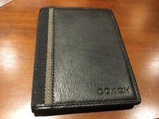 NEW Coach Black Textured Leather/Fabric Stripe Passport Case/Holder/Wallet