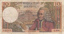 Billet banque 10 Frs VOLTAIRE 07-09-1972 K Q.808 état voir scan